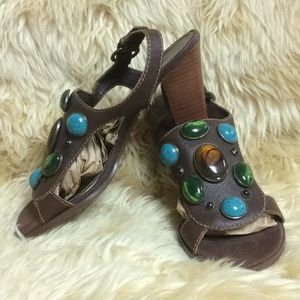"""""""Jeweled"""" Brown Leather Sandals"""